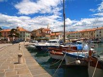 Medelhavs- hamn & fartyg, Slovenien Fotografering för Bildbyråer