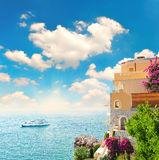 medelhavs- havssikt för härlig liggande Royaltyfri Fotografi