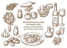 Medelhavs- kokkonst Den nya och saftiga skinka- och melonsunen formade bakgrund Bläckfisk med kronärtskocka- och tomat-mintkarame stock illustrationer