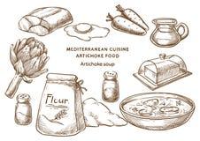 Medelhavs- kokkonst Den nya och saftiga skinka- och melonsunen formade bakgrund Kronärtskockasoppa ingredienser vektor illustrationer