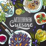 Medelhavs- kokkonst Den nya och saftiga skinka- och melonsunen formade bakgrund vektor illustrationer