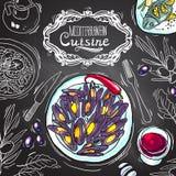 Medelhavs- kokkonst Den nya och saftiga skinka- och melonsunen formade bakgrund stock illustrationer