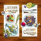 Medelhavs- kokkonst för vertikala baner stock illustrationer