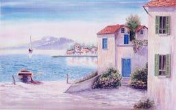 Medelhavs- kust- landskap med vattenfärgen Arkivfoto