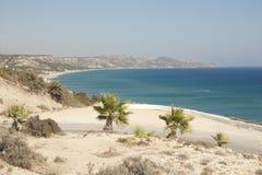 Medelhavs- kust på den Kos ön royaltyfri bild