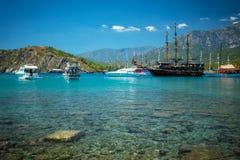 Medelhavs- kust, Turkiet Kemer arkivfoton