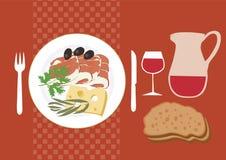 medelhavs- lantligt för kokkonst stock illustrationer