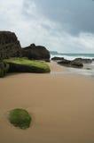 medelhavs- quiet för strand royaltyfri fotografi