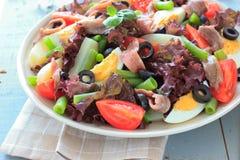 Medelhavs- sallad med ansjovisar och oliv Arkivfoto