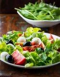 Medelhavs- sallad med mozzarellaen och olivgrön Arkivfoto