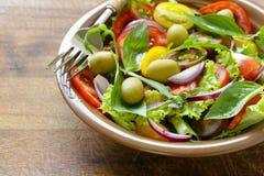 Medelhavs- sallad med oliv, avokado Arkivbild