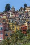 Medelhavs- semesterort av Menton - franska Riviera Arkivbild