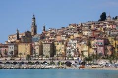 Medelhavs- semesterort av Menton - franska Riviera Arkivfoto