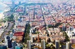 medelhavs- sikt för flyg- stad barcelona spain Fotografering för Bildbyråer