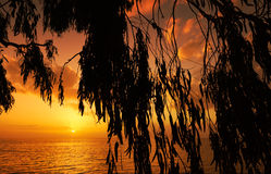 medelhavs- solnedgång Fotografering för Bildbyråer