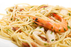 Medelhavs- spagetti Fotografering för Bildbyråer