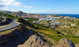 Medelhavs- stad av port Vendres Royaltyfri Fotografi