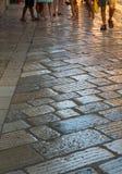 Medelhavs- stads- gata i Porec Kroatien Arkivfoton