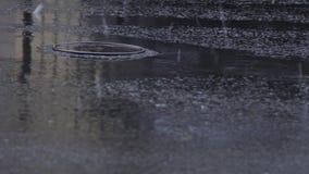 Medelhjul kör till och med avkloppmanhålet under regn lager videofilmer