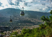 Medellin Aerial View From Cableway Stock Images
