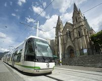 Medellin, Antioquia / Colombia - July 08, 2019. The Medellín tramway is a means of rail transportation, urban electric passenger. And operates in the city of royalty free stock image