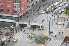 Medellin Antioquia, Kolumbia, Luty,/- 02, 2017 Medellin tramwaj jest sposoby sztachetowy transport, miastowy elektryczny passeng Fotografia Royalty Free