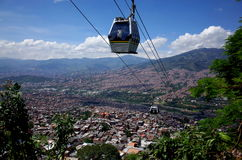 Medellin cable car. Medellin's cable car rises above the city Stock Images