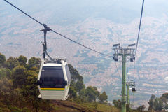 Medellin Cable Car. View of cable car high above Medellin, Colombia Royalty Free Stock Images