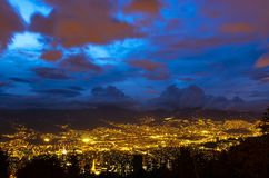 Medellin Cityscape during the Blue Hour, Colombia royalty free stock image