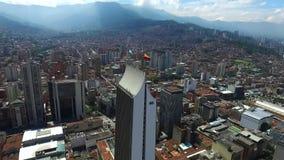 Medellin, Colômbia - centro importante da construção do tiro aéreo da cidade filme