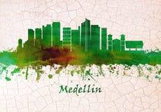 Medellin Colombia horisont stock illustrationer