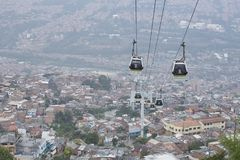Medellin, Colombia on January 30, 2016. Metrocable public transport in the city. Stock Image