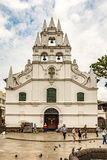 La Veracruz catholic church and the only colonial style church i Stock Photos