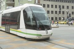 Medellin - Colombia on May 26, 2016. The tram Medellin is a means of transport railway, urban electric passenger and operating in stock photography