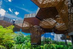 MEDELLIN, COLOMBIA OCTOBER 22, 2017: Beautiful architectural woodden structure in a botanical greenhouse in Medellin royalty free stock photography