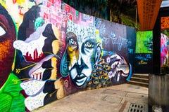 MEDELLIN COLOMBIA OKTOBER 22, 2017: Väggen täckte vid grafitti i gatorna av grannskapen för comuna 13 i Medellin Royaltyfria Foton