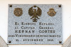 Commemorative plaque of the Spanish Army for the V centenary of the birth of Captain General Hernan Cortes in Medellin royalty free stock photography