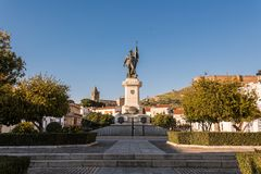 Statue of Spanish conquistador Hernan Cortes in the plaza of the same name in Medellin, Extremadura, Spain. stock photography