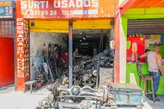 Sprocket and metal milling workshop. Medellin February 2018 This sprocket and metal milling workshop is one of many in the Medellin Sad neighborhood known for Royalty Free Stock Photos