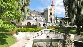 Castle Museum view from the garden Medellin Colombia. Medellin February 2018 view of the Castle museum in Medellin. This gothic castle, inhabited by a noble stock footage