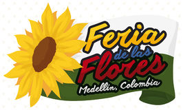 Medellin Flag and Sunflower for Colombian Flower Festival, Vector Illustration. Banner with Medellin flag and pretty sunflower to celebrate Colombian Festival of Stock Photos