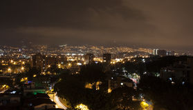 Medellin at night with residential buildings. Colombia 2017. Royalty Free Stock Photo
