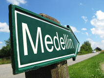 Medellin signpost Royalty Free Stock Images