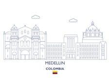 Medellin stadshorisont, Colombia Royaltyfri Foto
