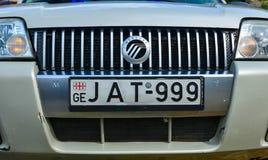 Medelnummerplåt av den moderna bilen arkivbilder