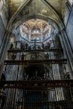 Medeltida arkitektoniska bågar inom domkyrkan av Ourense in arkivbilder