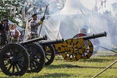 Medeltida arrangerad strid - Rievocandum 2015 Royaltyfria Bilder
