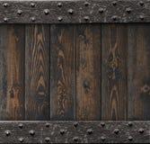 Medeltida bakgrund med den gamla metallramen över träillustration för plankor 3d vektor illustrationer