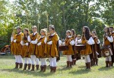 medeltida band moder två för färgdotterbild Royaltyfri Foto