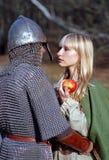 medeltida barn för par Arkivfoto